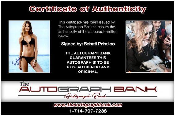 Behati Prinsloo proof of signing certificate