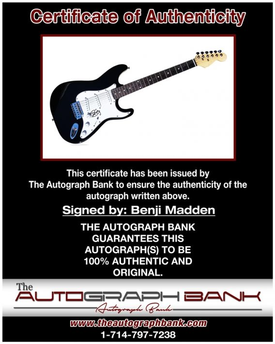 Benji Madden proof of signing certificate