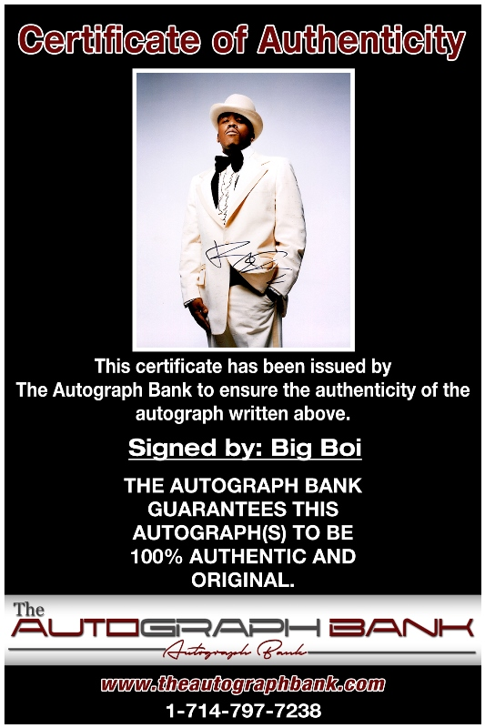 Big Boi proof of signing certificate