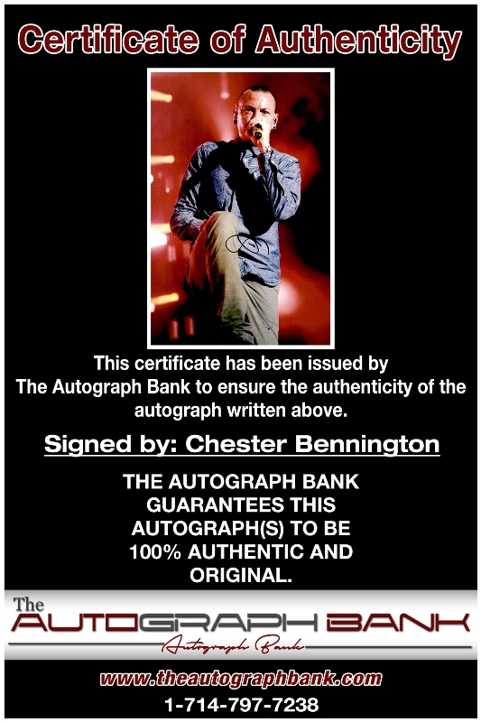 Chester Bennington proof of signing certificate