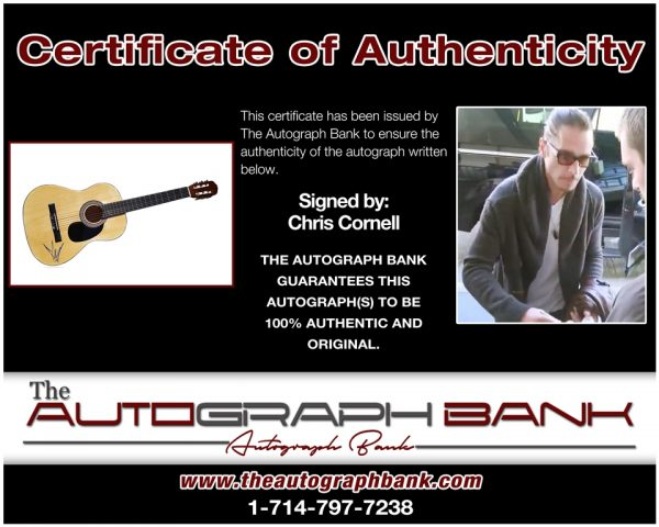 Chris Cornell certificate of authenticity from the autograph bank