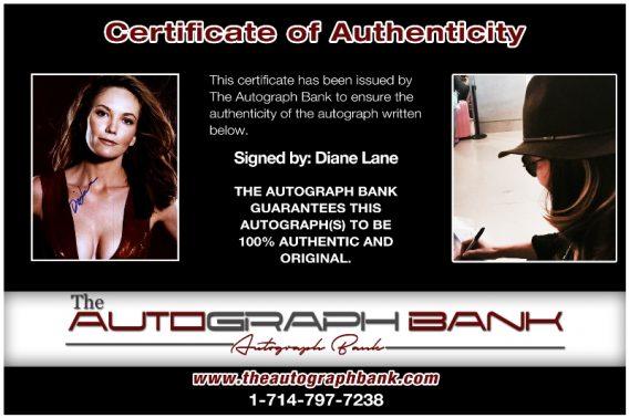 Diane Lane proof of signing certificate