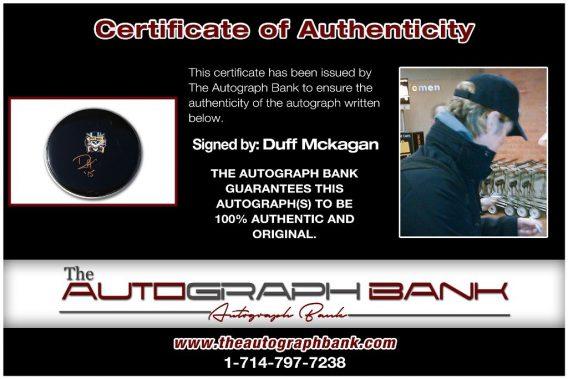 Duff Mckagan proof of signing certificate