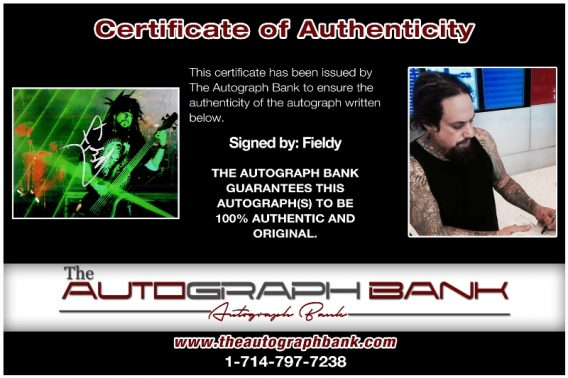 Fieldy of Korn proof of signing certificate