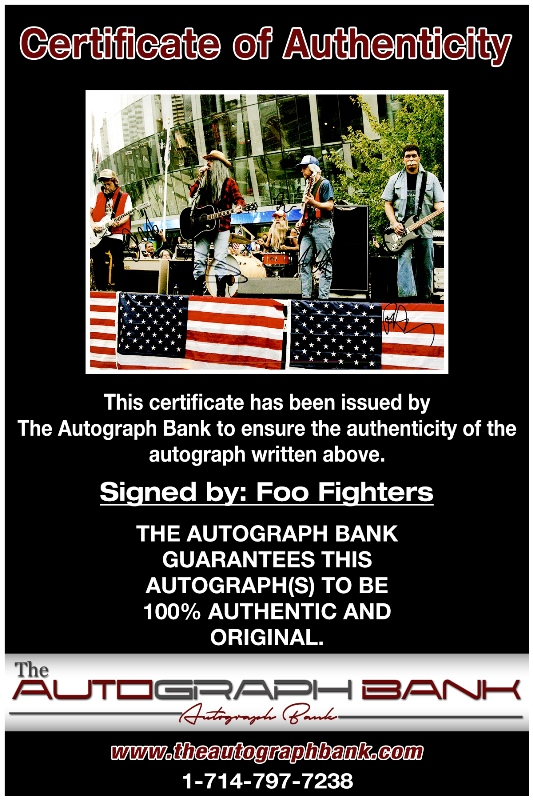 Foo Fighters proof of signing certificate