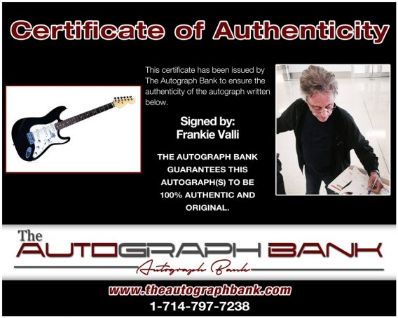 Frankie Valli proof of signing certificate