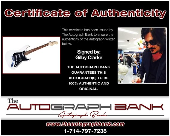 Gilby Clarke of Guns N Roses certificate of authenticity from the autograph bank