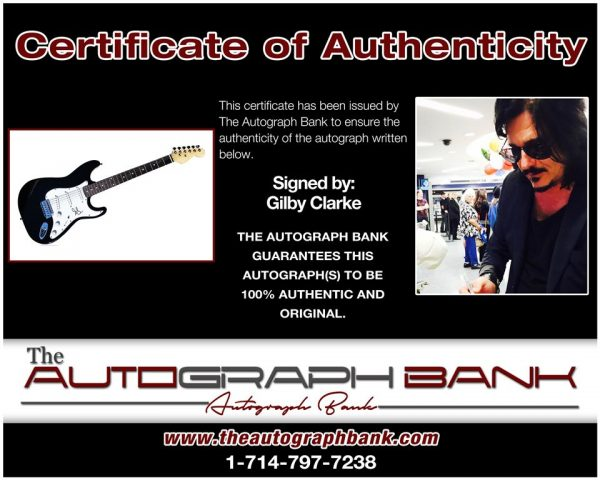 Gilby Clarke of Guns N Roses proof of signing certificate