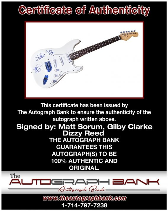 Matt Sorum proof of signing certificate