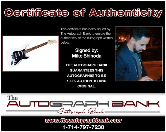 Mike Shinoda proof of signing certificate