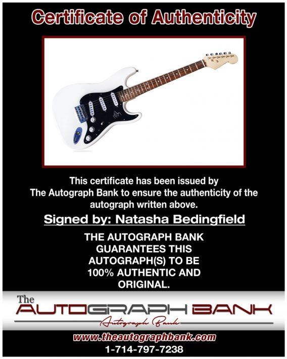 Natasha Bedingfield proof of signing certificate