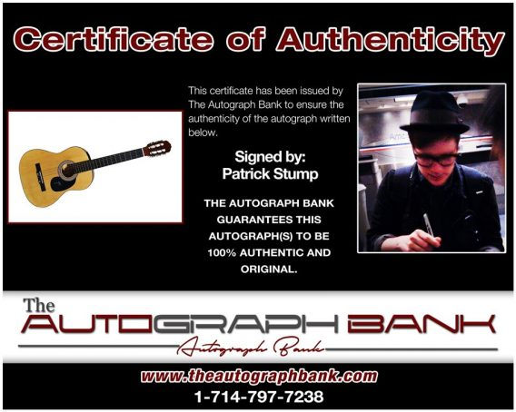 Patrick Stump proof of signing certificate