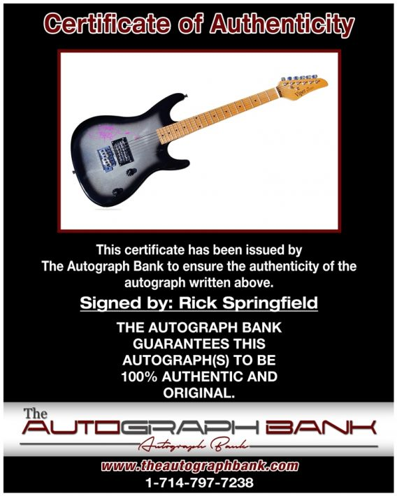 Rick Springfield proof of signing certificate