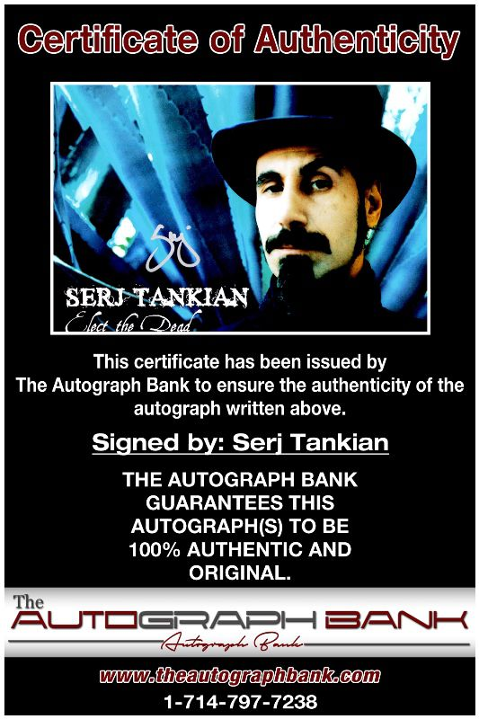 Serj Tankian proof of signing certificate