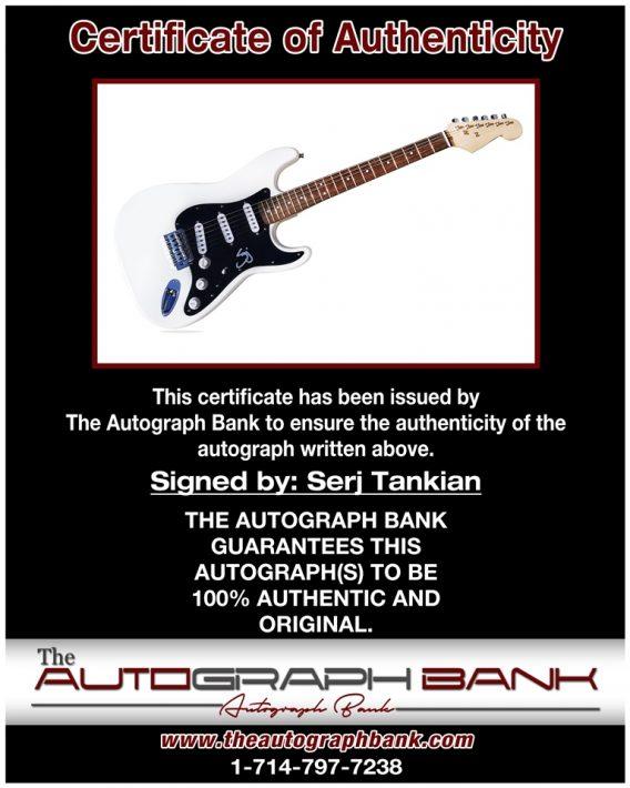 Serj Tankian proof of signing certificate