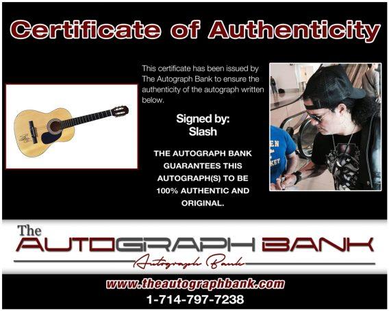 Slash of Guns N Roses proof of signing certificate
