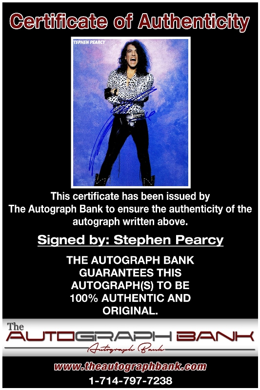 Stephen Pearcy proof of signing certificate