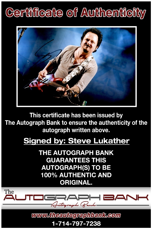 Steve Lukather proof of signing certificate