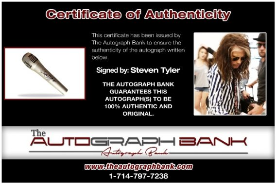 Steven Tyler from Aerosmith proof of signing certificate
