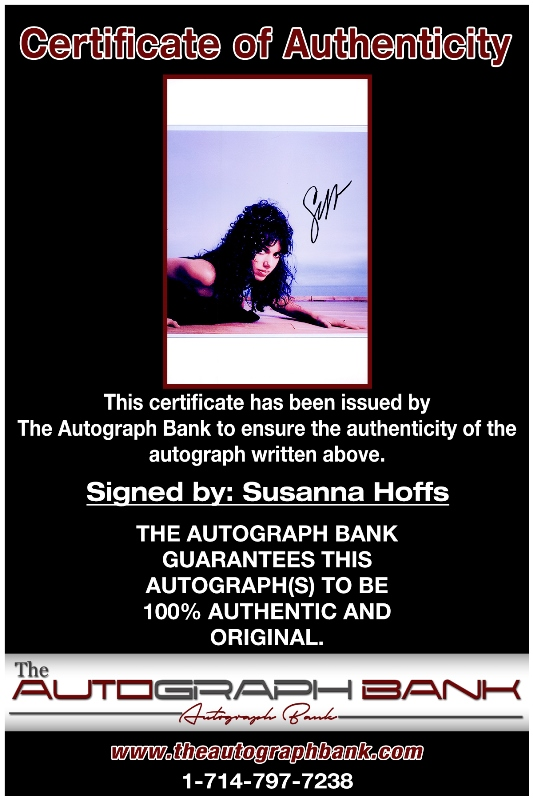 Susanna Hoffs proof of signing certificate