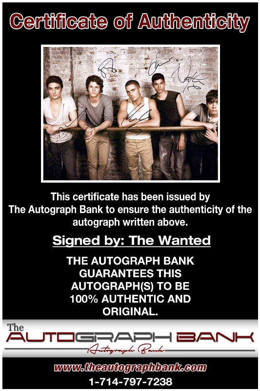 The Wanted proof of signing certificate