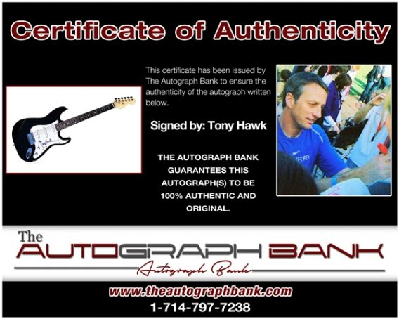 Tony Hawk proof of signing certificate