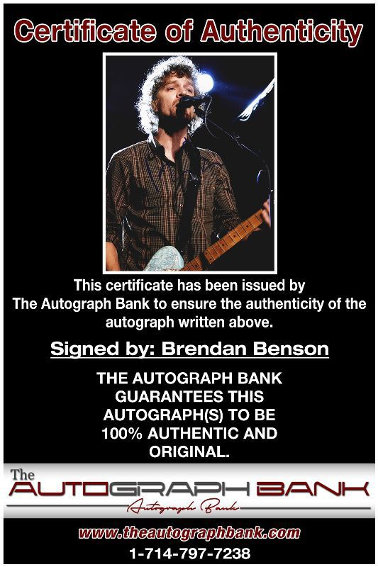 Brendan Benson proof of signing certificate