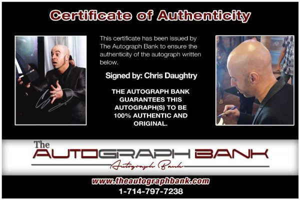 Chris Daughtry proof of signing certificate