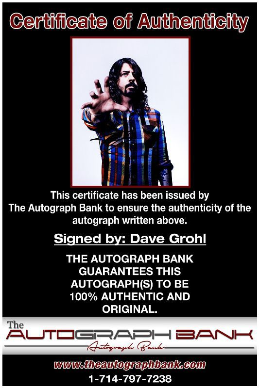 Dave Grohl proof of signing certificate