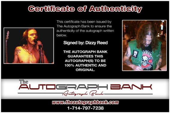 Dizzy Reed proof of signing certificate