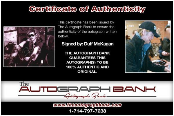 Duff McKagan proof of signing certificate