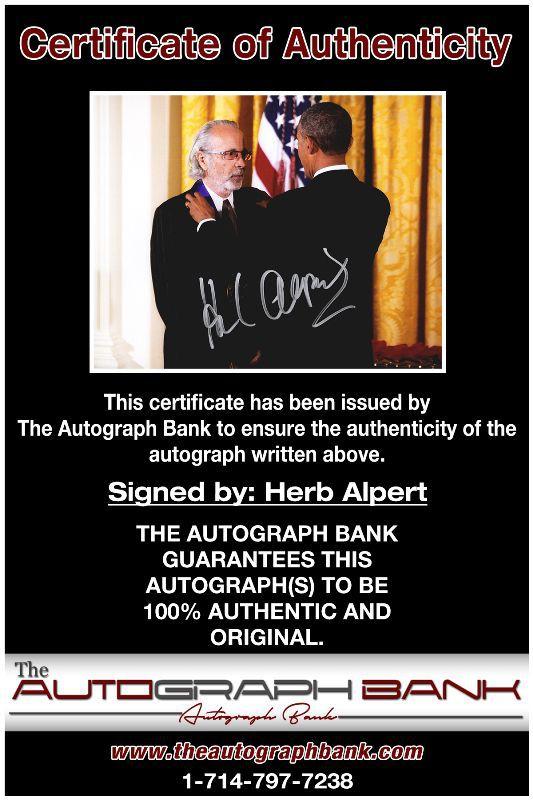 Herb Alpert proof of signing certificate