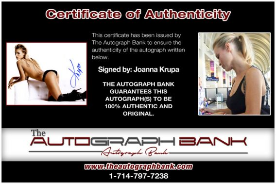 Joanna Krupa proof of signing certificate