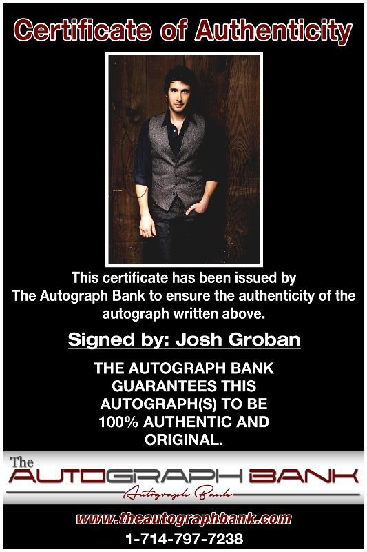 Josh Groban proof of signing certificate