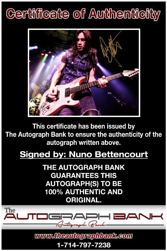 Nuno Bettencourt proof of signing certificate