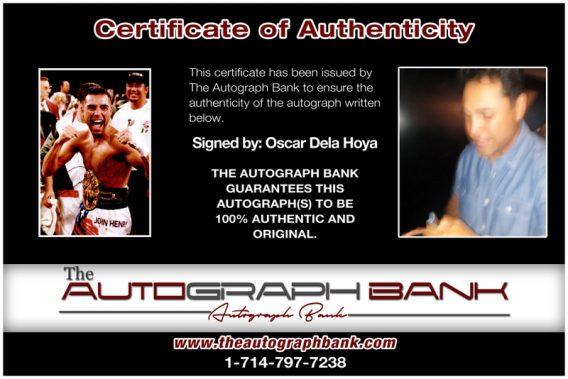 Oscar De La Hoya proof of signing certificate