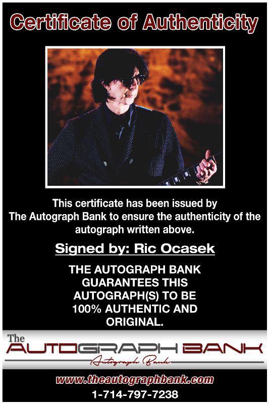 Ric Ocasek proof of signing certificate