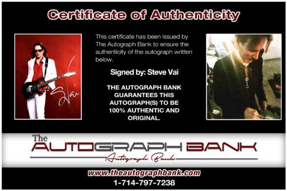 Steve Vai proof of signing certificate