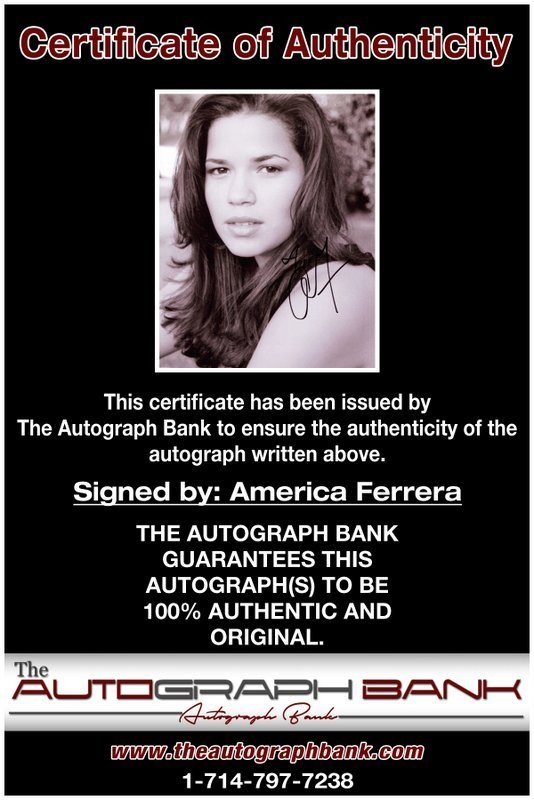 America Ferrera certificate of authenticity from the autograph bank