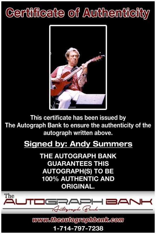 Andy Summers proof of signing certificate