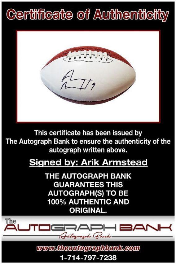 Arik Armstead proof of signing certificate