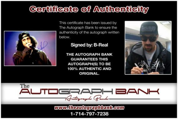 B-Real of Cypress Hill proof of signing certificate