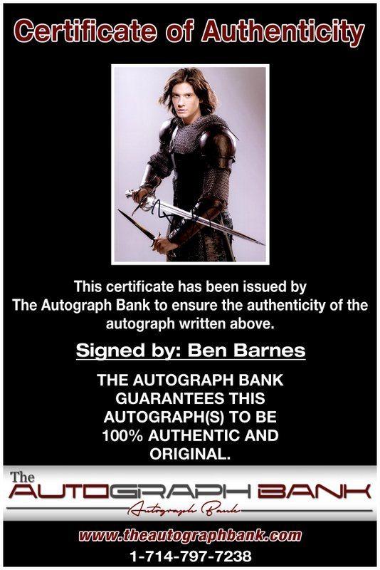 Ben Barnes proof of signing certificate