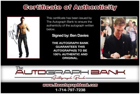 Ben Davies proof of signing certificate