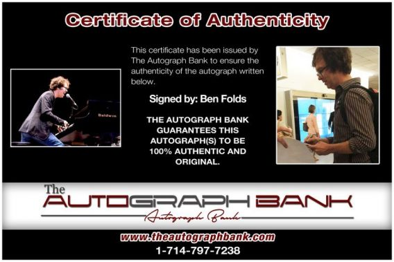 Ben Folds proof of signing certificate
