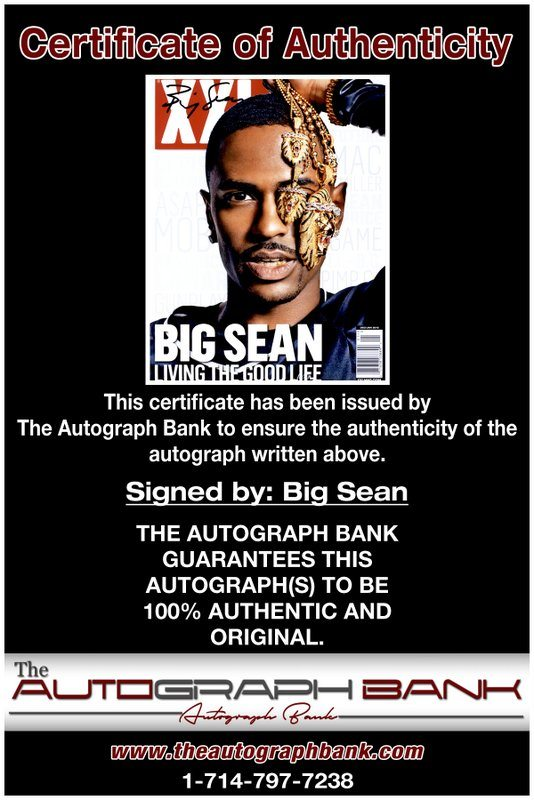 Big Sean proof of signing certificate