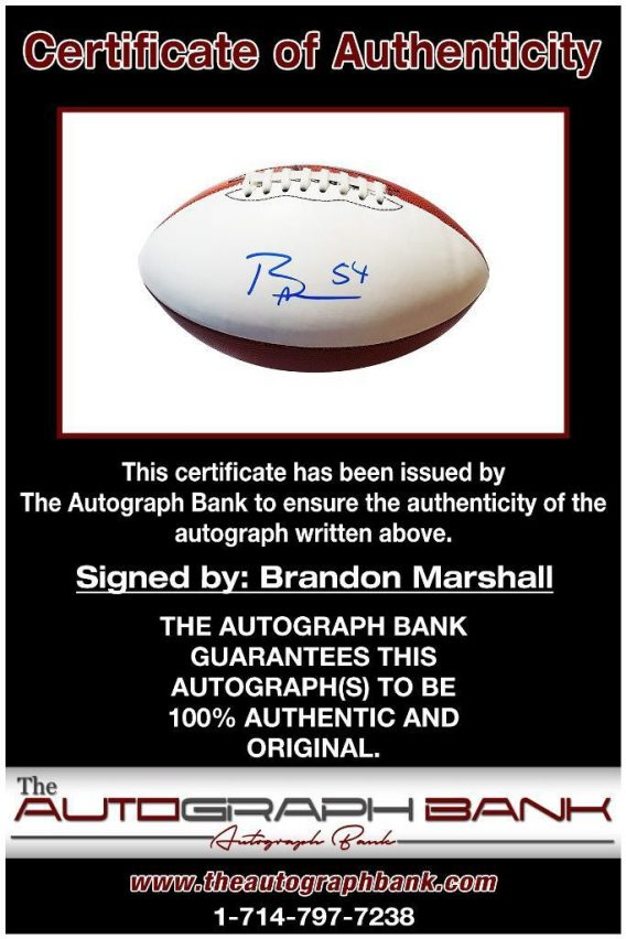 Brandon Marshall proof of signing certificate