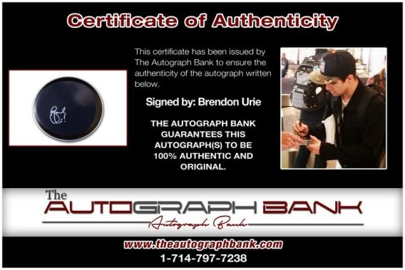 Brendon Urie proof of signing certificate