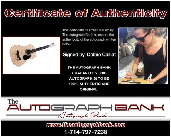 Colbie Caillat proof of signing certificate