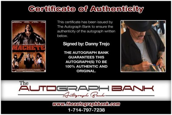 Danny Trejo proof of signing certificate
